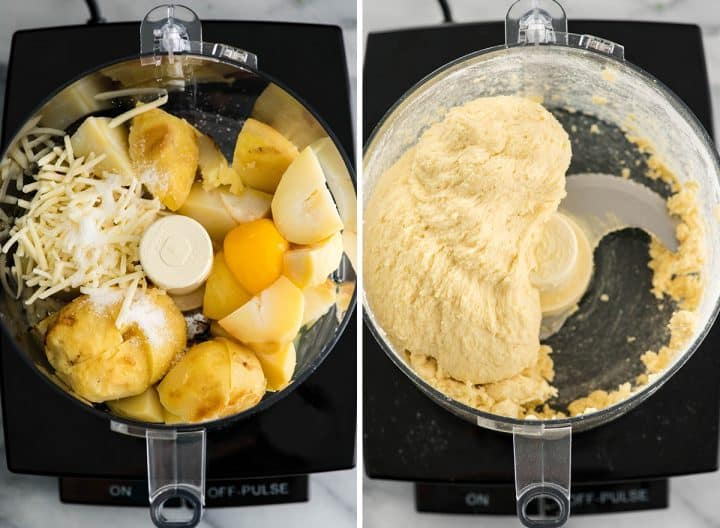 two overhead photos showing how to make gnocchi in a food processor - making the dough