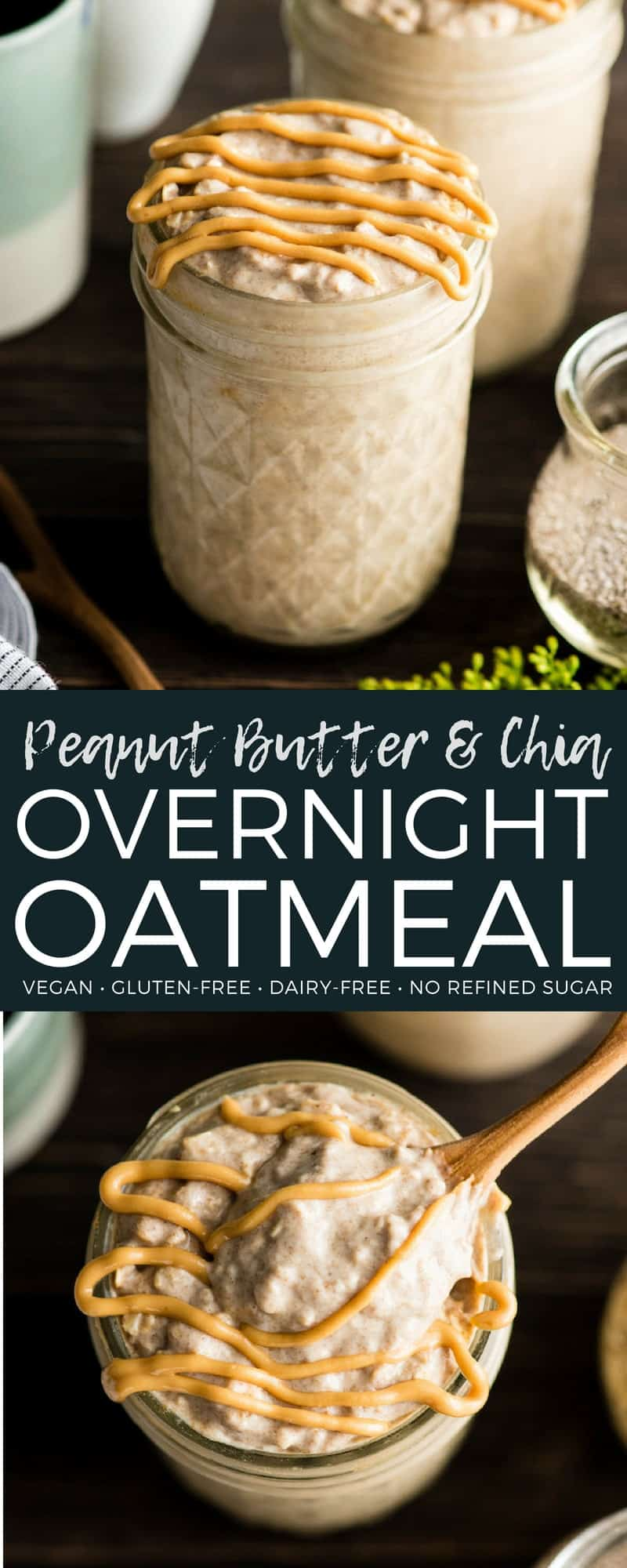 This Peanut Butter Chia Overnight Oats Recipe is an amazing, healthy breakfast full of protein and fiber! These vegan overnight oats are made with only 7 ingredients and take 5 minutes of prep time, so they are also a great meal prep idea for busy weeks! #overnightoats #peanutbutter #healthyrecipe #vitamix