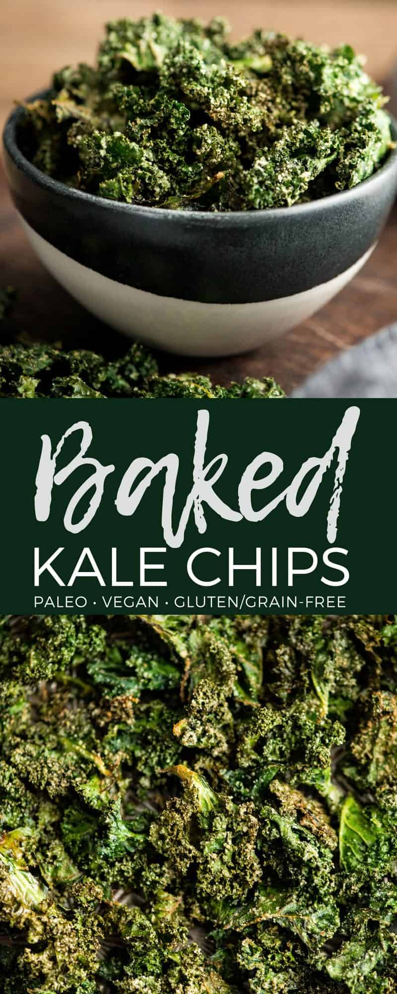 This recipe for Baked Kale Chips is seriously the best! This delicious, healthy, kid-friendly snack is made with only 5 ingredients and is a fantastic way to sneak some greens into your day! #kalechips #kale #baked #glutenfree #grainfree #dairyfree #paleo #vegan #sugarfree #snack #kidfriendly