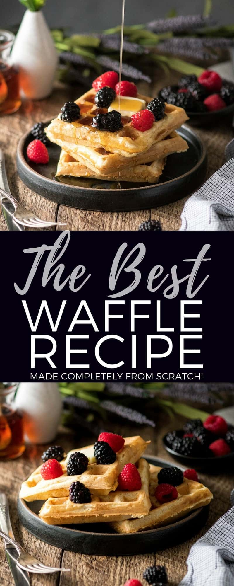 Are you ready for the Best Waffles Recipe EVER?! These golden-brown, crispy, irresistibly fluffy waffles turn out perfectly every single time! They're made completely from scratch, freeze beautifully, and are lightened up by using applesauce in the batter! Plus this recipe makes a HUGE batch, so you will definitely have leftovers to enjoy all week long! #waffles #recipe #fromscratch #freezerfriendly #breakfast