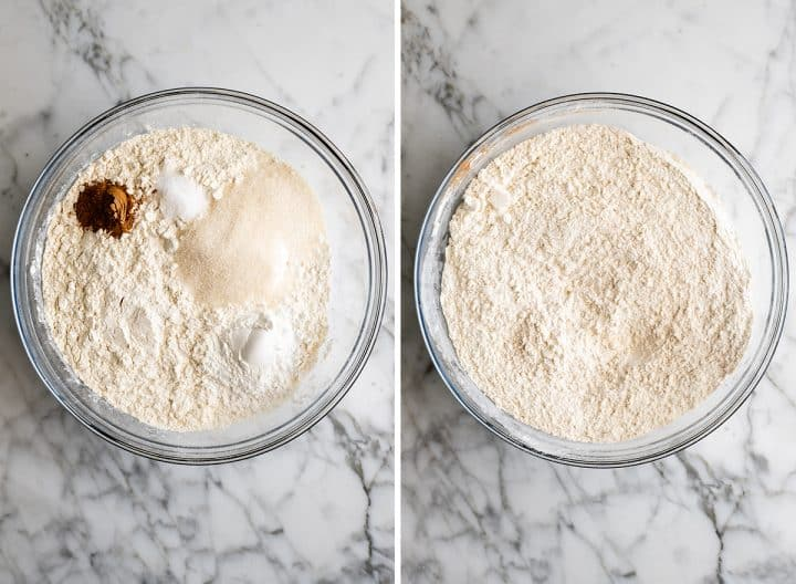 two photos showing how to make waffles