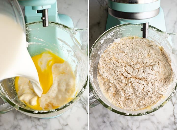 two overhead photos showing how to make waffles