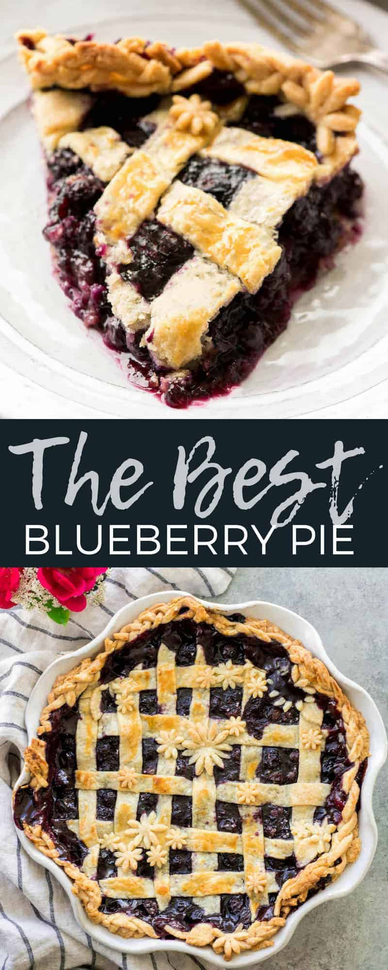 Literally the best, easy & simple homemade Blueberry Pie Recipe from scratch that you will ever try! It's made with only a handful of ingredients and includes step-by-step instructions and photos for making your own butter pie crust! You need to make this amazing dessert this summer! #pie #blueberries #baking #recipe #fromscratch #homemade #blueberrypie