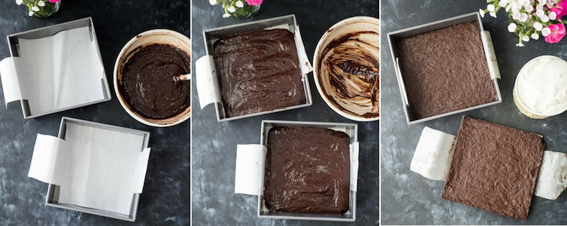 Overhead view picture collage of steps 4 to 6 in making Brownie Ice Cream Sandwiches