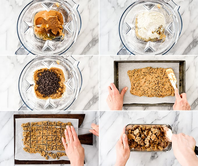 a collage of six phots showing an overhead view of how to make the peanut butter cookie dough in Dairy-Free Chocolate Peanut Butter Cookie Dough Ice Cream recipe