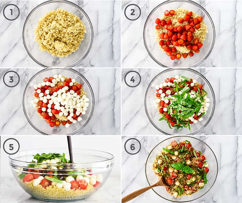 A collage of six photos showing the step-by-step process of how to make this Caprese Quinoa Salad