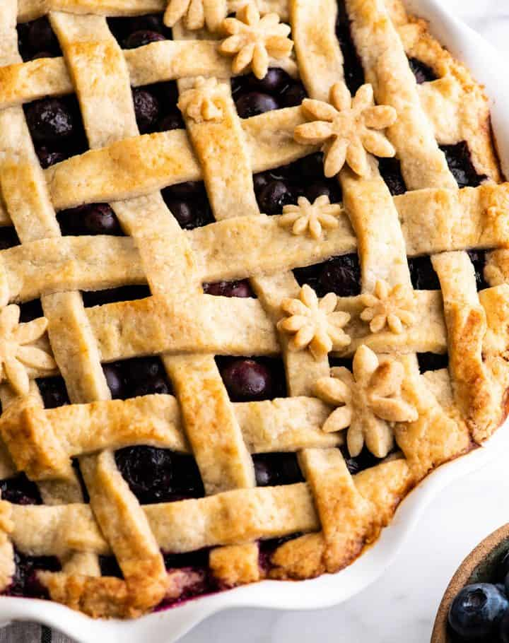 up close view of an all butter pie crust lattice