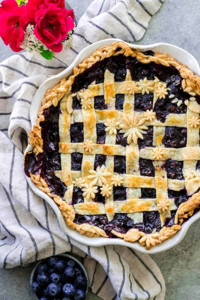 Overhead view of a baked Blueberry Pie Recipe