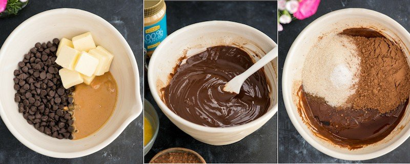 Overhead view picture collage of the first three steps in making Brownie Ice Cream Sandwiches