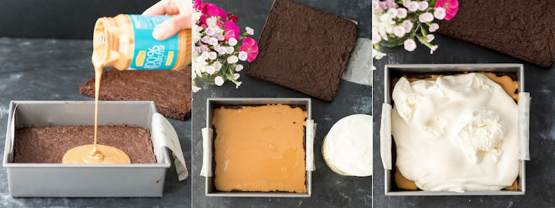 Overhead view picture collage of steps 7-9 in making Brownie Ice Cream Sandwiches