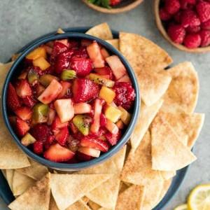 Healthy Fruit Salsa & Cinnamon Chips