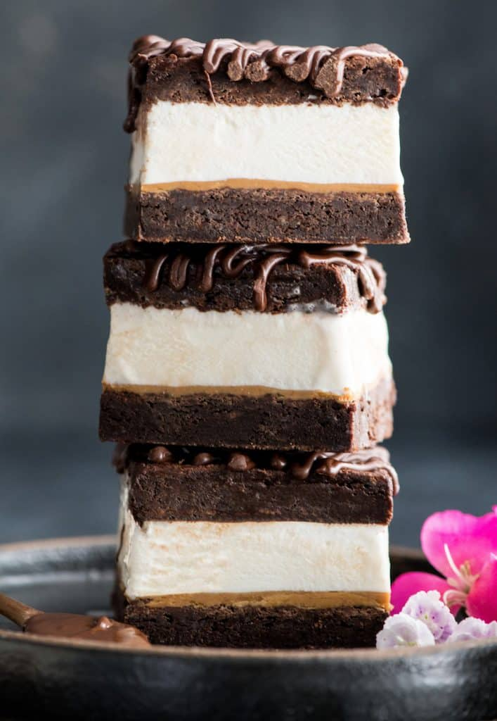 front view of a stack of three Brownie Ice Cream Sandwiches