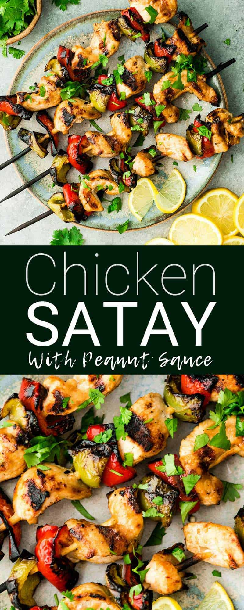This easy Chicken Satay recipe is SO delicious you will want to make it on repeat! Chicken and veggies are grilled to perfection and brushed with the best peanut sauce EVER. It's the perfect heathy recipe to serve for dinner or to meal prep and enjoy all week long! #chickensatay #satay #peanutsauce #BBQ #kabob #grill #maindish #chicken #thai #healthyrecipe #glutenfree #dairyfree #appetizer