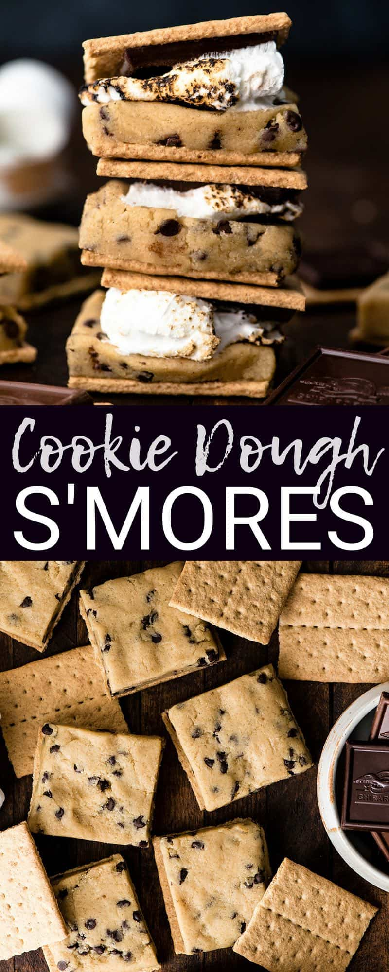 Can you handle these Cookie Dough S'mores?! A thick layer of edible cookie dough (no eggs), a toasty marshmallow and a piece of chocolate are all sandwiched between two graham crackers to make the best s'more EVER. #smores #cookiedough #dessert #bbq #campfire #marshmallows #chocolate #grahamcrackers