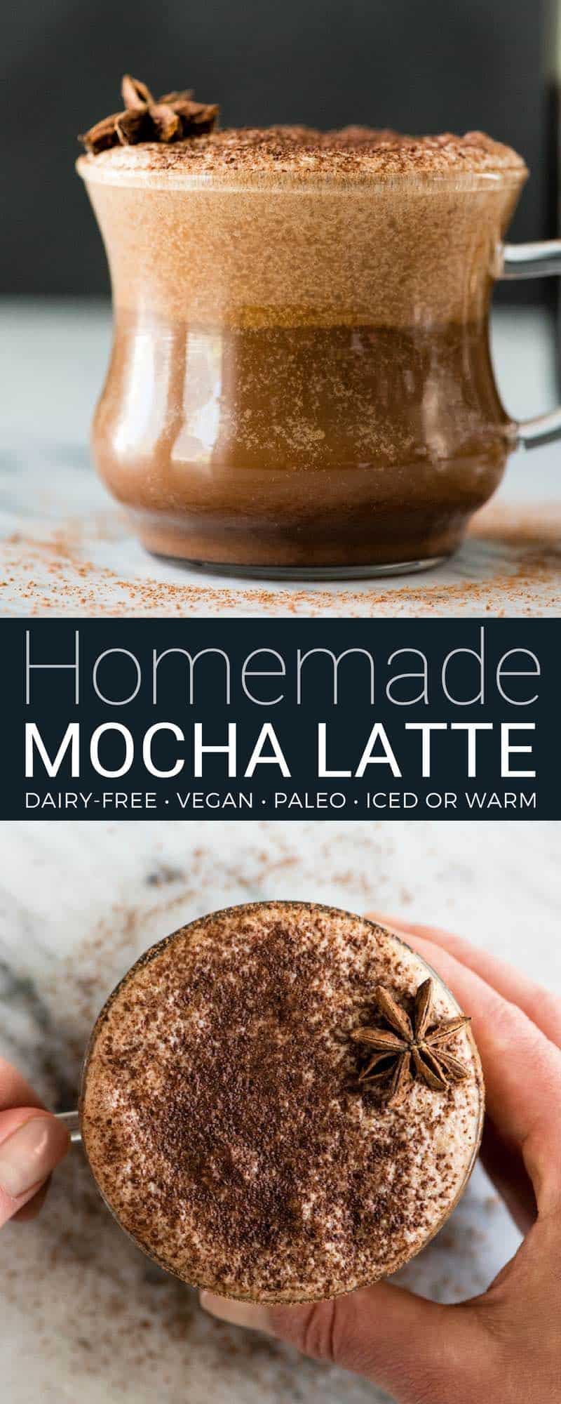 This dairy-free mocha latte recipe is so amazing you will feel like you are drinking a high-end latte from a fancy coffee shop...but in the comfort of your own home and for a fraction of the price! It's easy to make, healthy (paleo, vegan, with NO refined sugar) and out-of-this-world delicious! #dairyfree #mocha #latte #recipe #paleo #vegan #healthy #mochalatte #vitamix