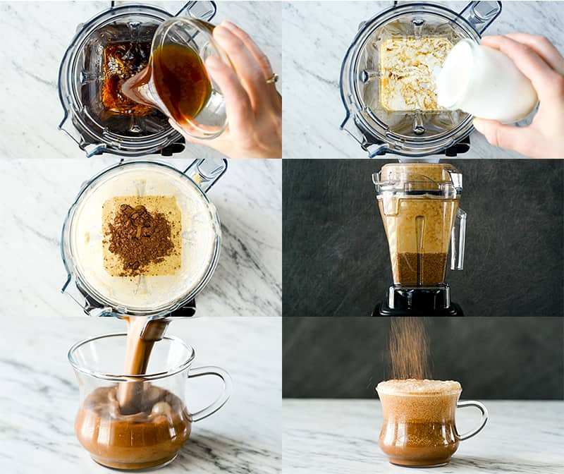 A collage of six photos showing how ot make a Dairy-Free Mocha Latte Recipe in the Vitamix Aer Container