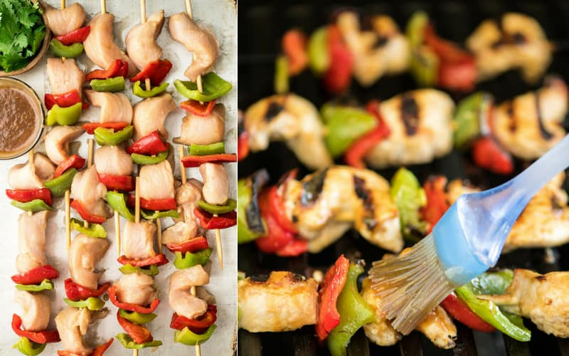 Collage of two photos. The one on the left shows the chicken and vegetable Chicken Satay kabobs before grilling, the photo on the right shows the peanut sauce being brushed onto the Chicken Satay kabobs on the grill