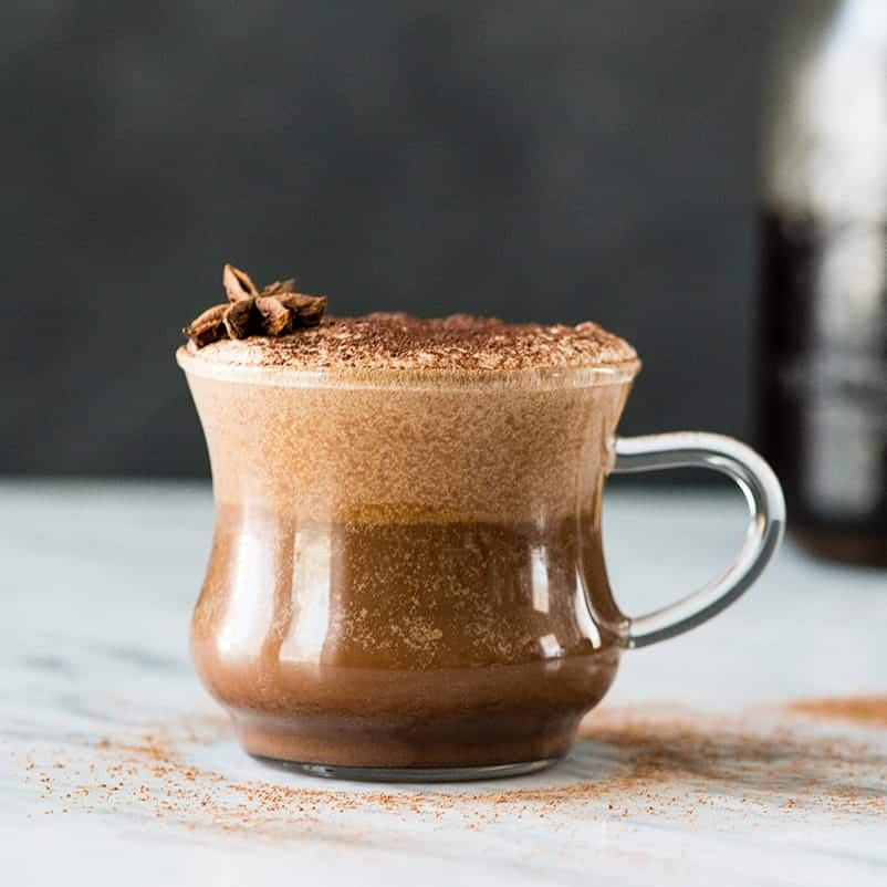Front view of a glass of Dairy-Free Mocha Latte Recipe