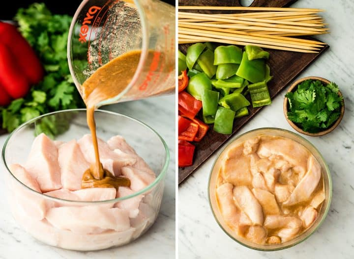 two photos showing how to make chicken satay
