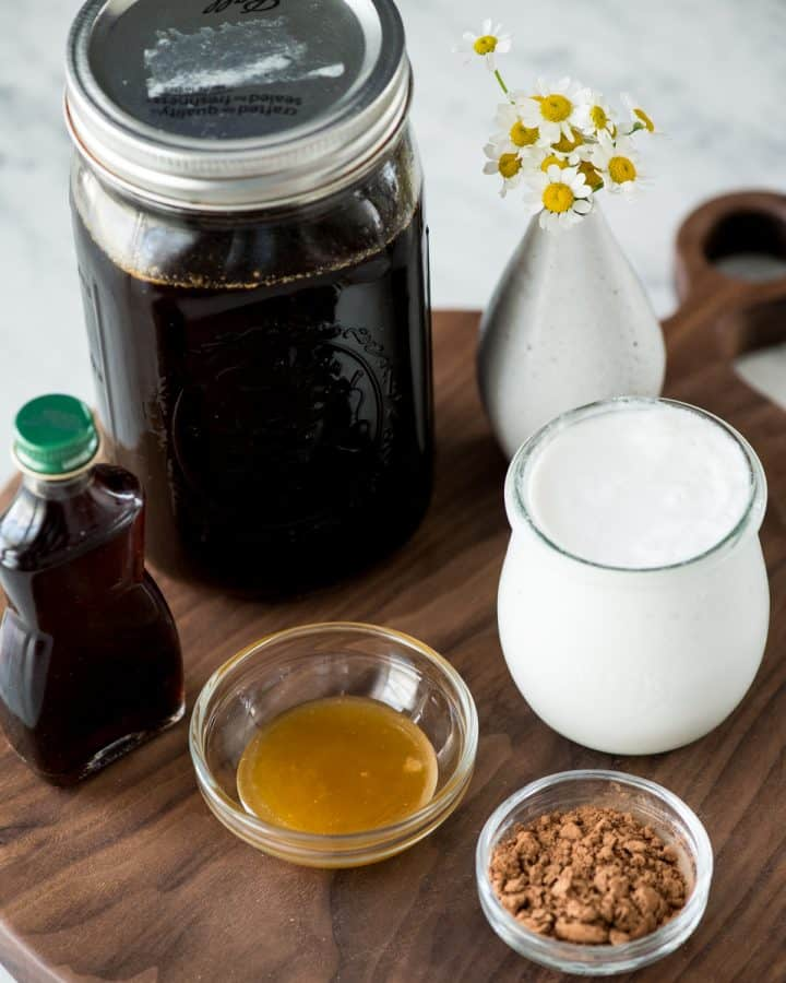 overhead view of the ingredients to make a Dairy-Free Mocha Latte Recipe