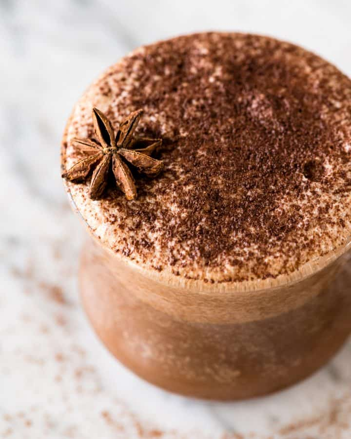 Overhead side view of a Dairy-Free Mocha Latte made in the Vitamix Aer Container