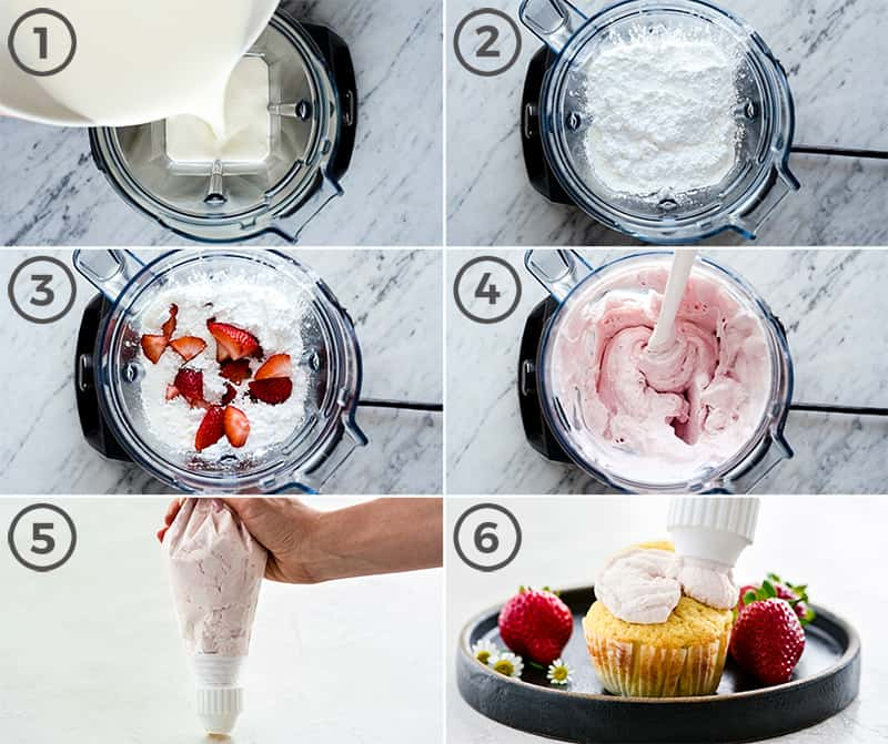 Collage of six photos showing the step-by-step process in the making of Strawberry Whipped Cream Recipe