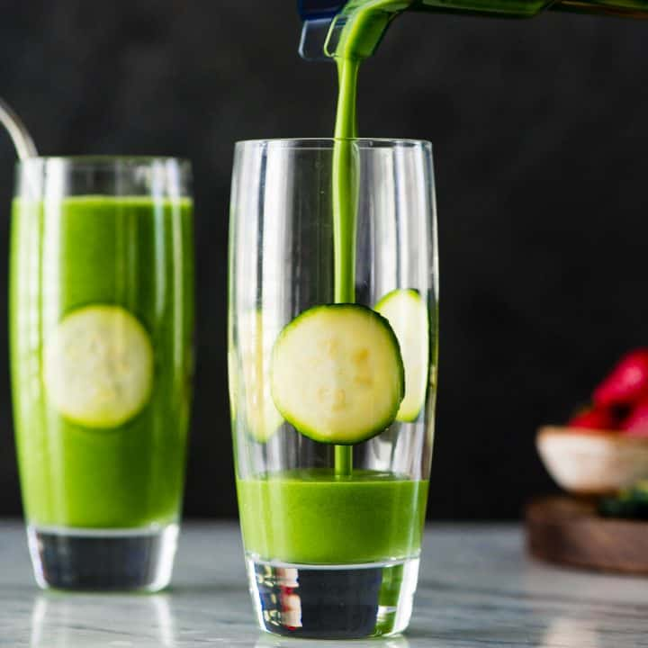Front view of a Zucchini Smoothie being poured into a glass