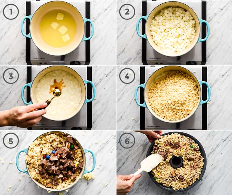 Six overhead photos in a collage showing six steps in the making of this Candy-Stuffed Rice Crispy Cake recipe