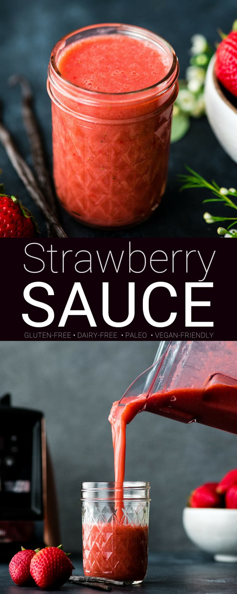 This fresh strawberry sauce is perfect for pancakes, waffles, angel food cake, and ice cream! This simple strawberry sauce recipe is made with only 5 ingredients and is ready in 5 minutes! Plus it's healthy - paleo, refined sugar free and gluten-free! #strawberrysauce #strawberries #pancakes #vitmaix #glutenfree #dairyfree #paleo #vegan #refinedsugarfree #pancakes #desert #breakfast #healthyrecipe