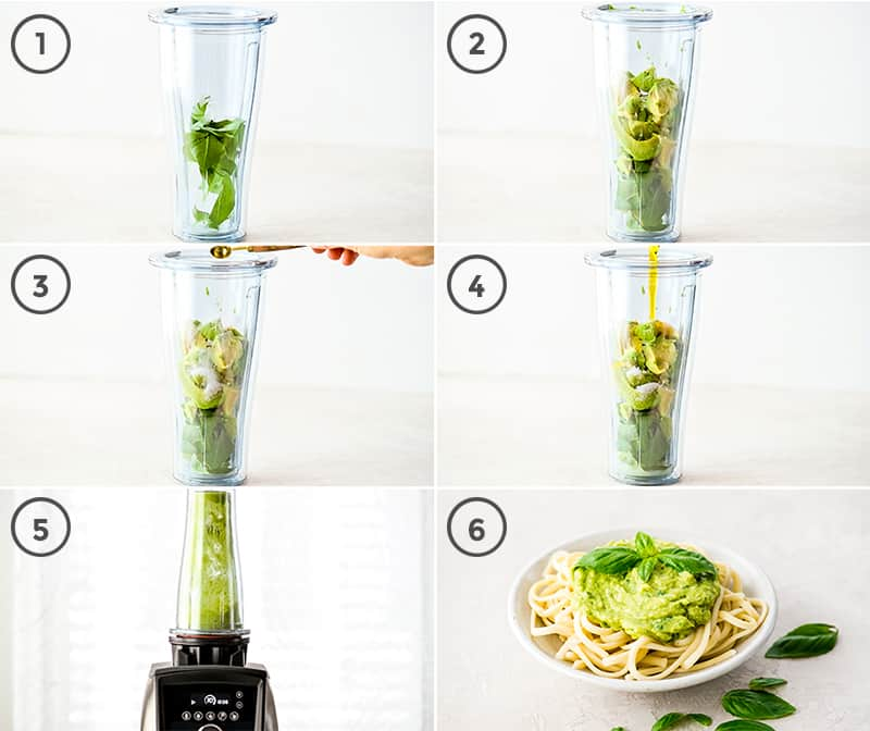 collage of 6 photos showing how to make Avocado Pasta Sauce
