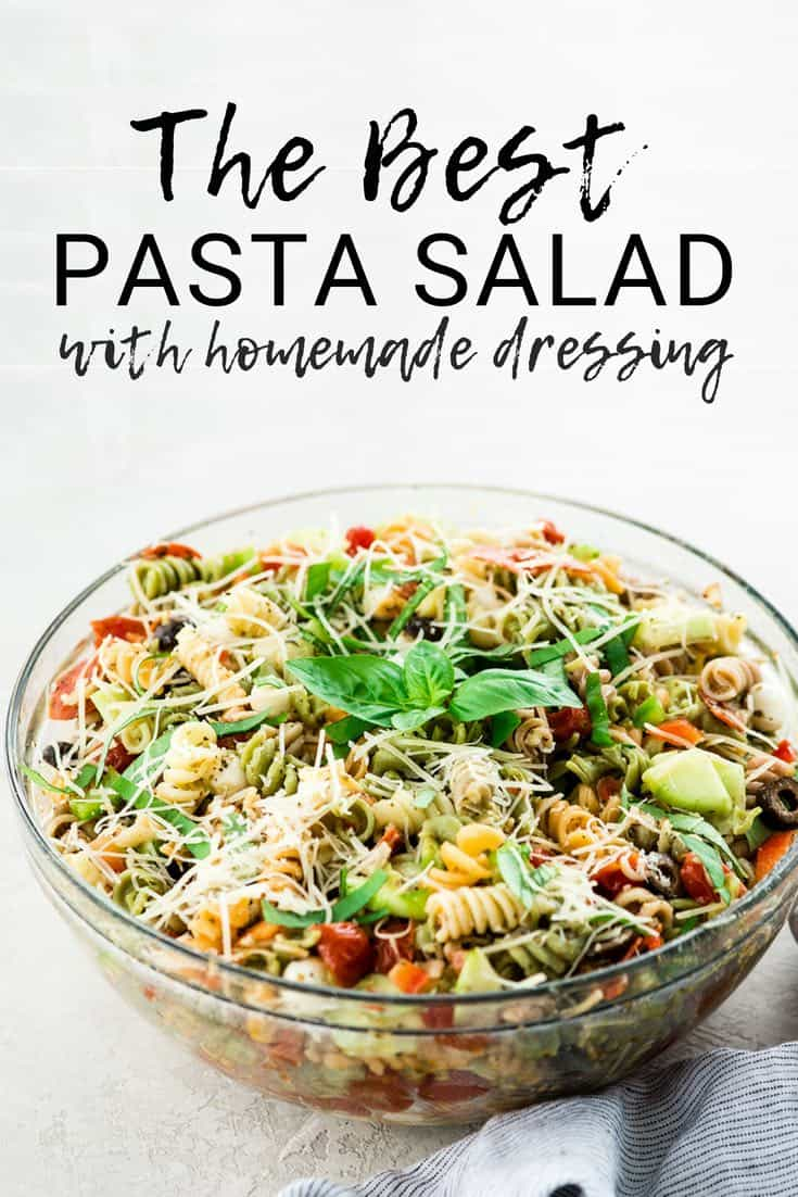 This Best Pasta Salad Recipe is made with Homemade Dressing & Roasted Tomatoes! It is the perfect healthy & flavorful make-ahead BBQ side dish  full of fresh veggies, pepperoni and fresh mozzarella cheese! Gluten-free & Vegan options!  #pastasalad #bbq #sidedish #bestpastasalad #pastasaladrecipe #recipe #healthyrecipe #glutenfree #vegan