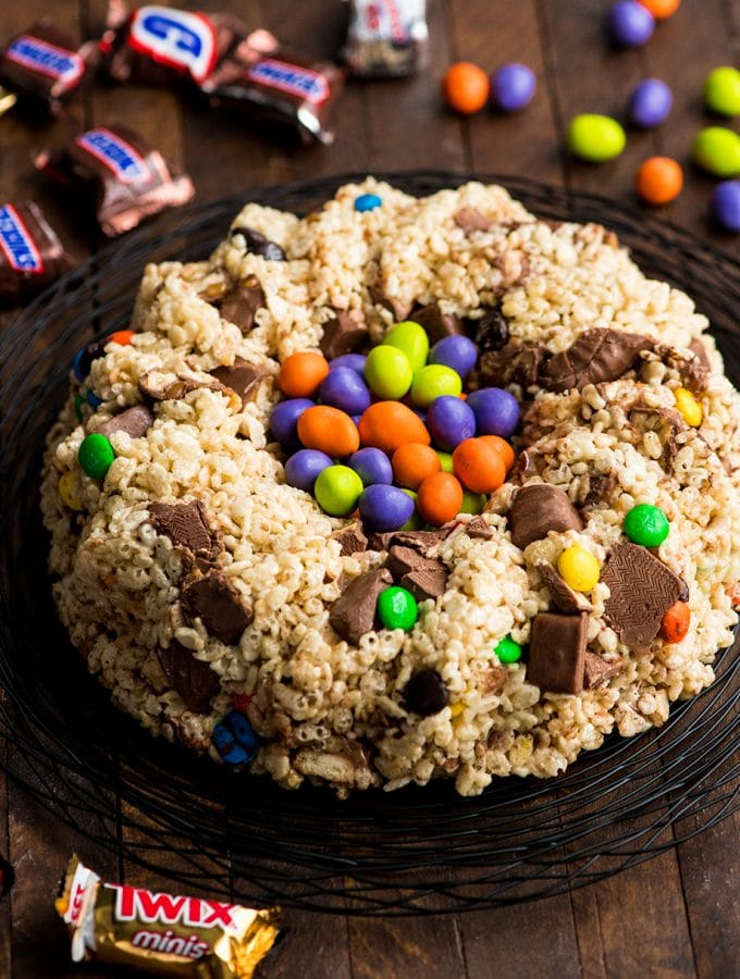 Candy Stuffed Rice Crispy Cake