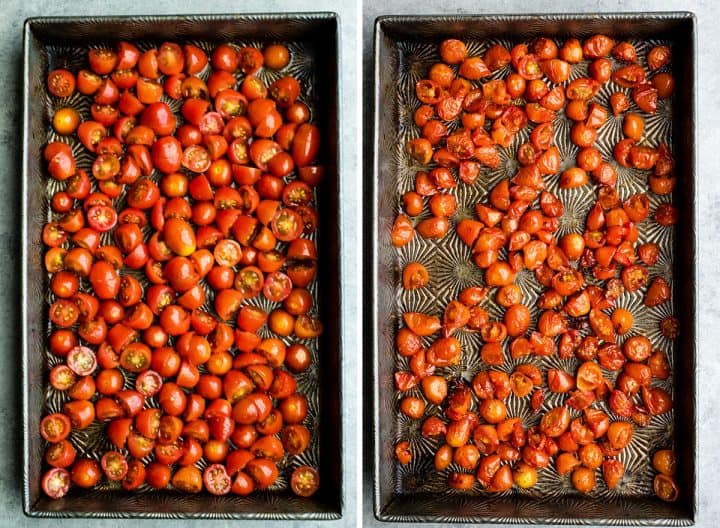 two overhead photos of a baking metal baking pan. The left shows tomatoes before roasting, the right shows the tomatoes after they have been roasted