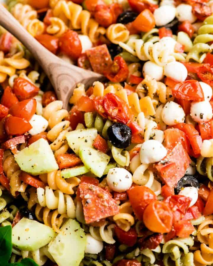 overhead view of the best pasta salad recipe in a large white serving bowl