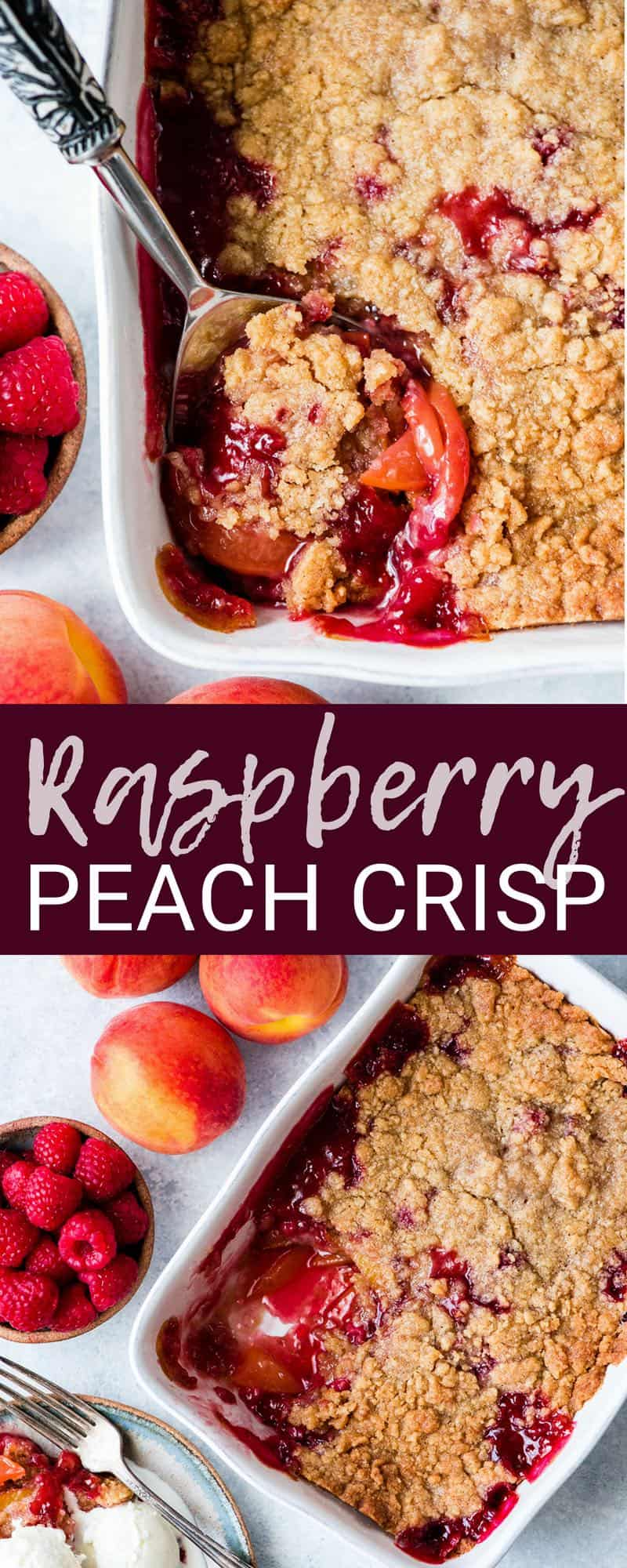This easy Raspberry Peach Crisp is one of our favorite dessert recipes! The buttery crumb topping paired with the sweet peaches and tart raspberries is absolute summer perfection! It's easily made gluten-free, dairy-free and vegan! #peach #raspberry #crisp #peachcrisp #raspberrycrisp #dessert #summer #berrycrisp #glutenfree #dairyfree #vegan