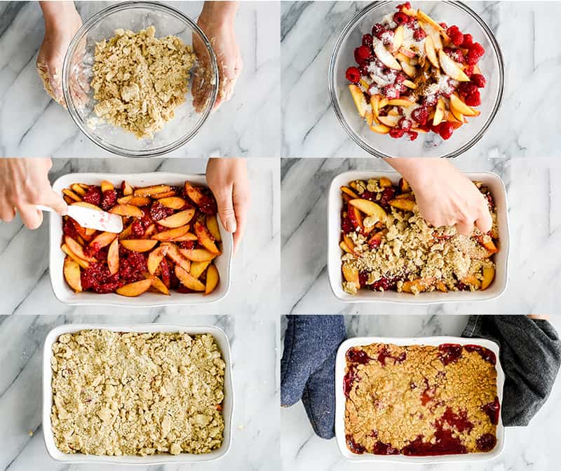 Overhead view of six photos showing the step-by-step process of making this raspberry peach crisp recipe.
