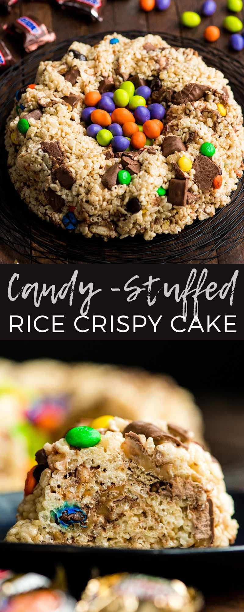 This Candy-Stuffed Rice Crispy Cake is an easy dessert recipe that is perfect for entertaining! It's made with 5 ingredients and comes together in 10 minutes! A great recipe to use up all your leftover Halloween candy! #sponsored #halloween #bundtcake #ricecrispycake #ricecrispytreats #dessert #halloweencandy #walmart @walmart