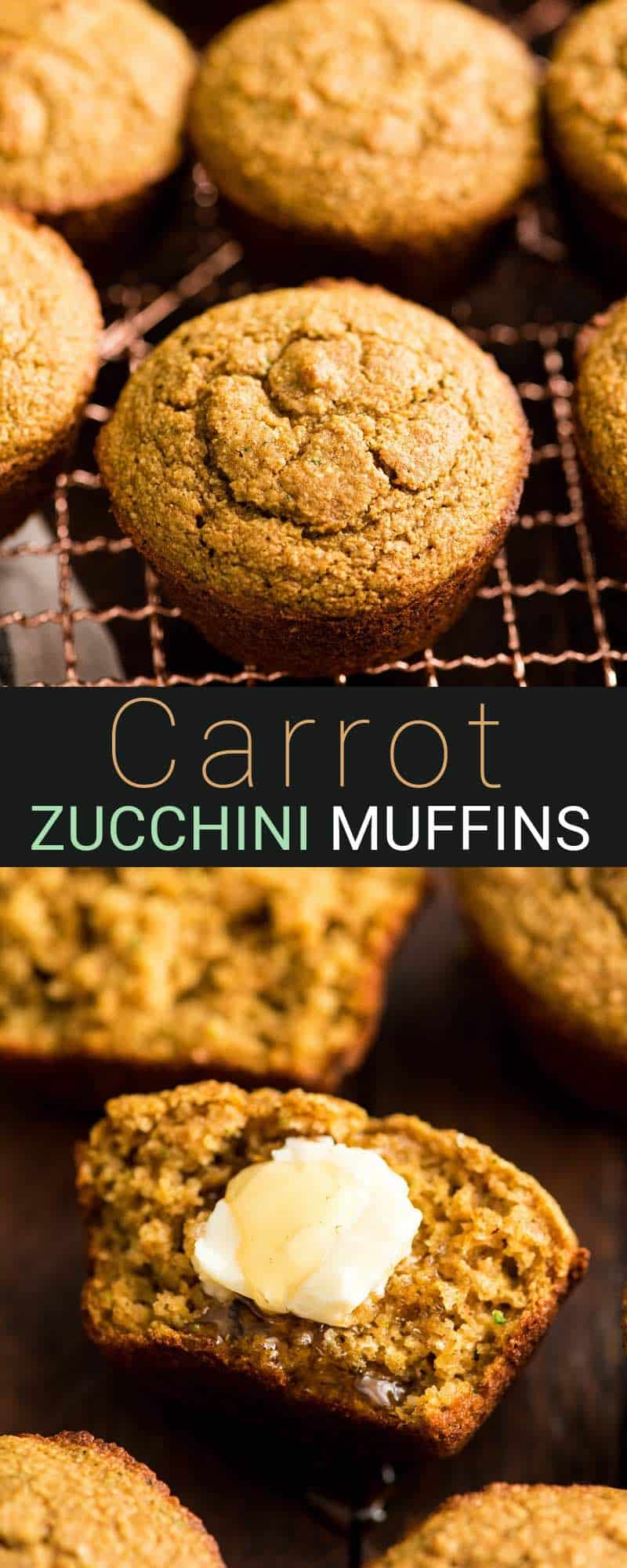 These Carrot Zucchini Muffins are made with whole wheat flour and oatmeal! They are the perfect healthy breakfast recipe that's loaded with nutrition! AKA: Baby Muffins! #babymuffins #zucchinimuffins #carrotmuffins #muffins #healthy #breakfast #recipe