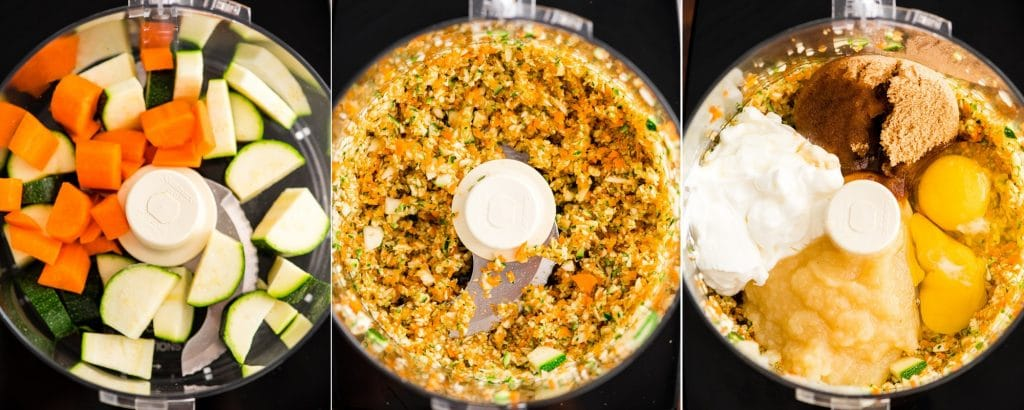 collage of three photos showing an overhead view of a food processor during the first three steps in making Carrot Zucchini Muffins