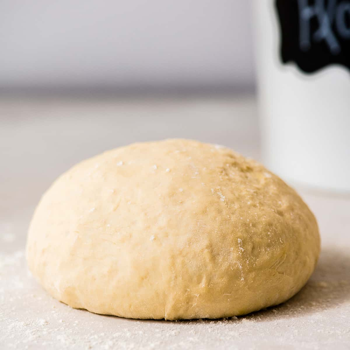 Front view of a ball of Easy Homemade Pizza Dough recipe