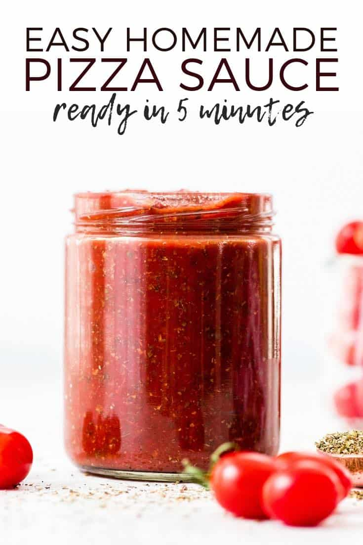 This is the best Easy Homemade Pizza Sauce Recipe ever! It's ready in 5 minutes and made with only 9 ingredients!  Plus this healthy pizza sauce recipe is gluten-free, paleo-friendly, dairy-free, & vegan!  #homemadepizza #pizzasauce #recipe #pizza #paleo
