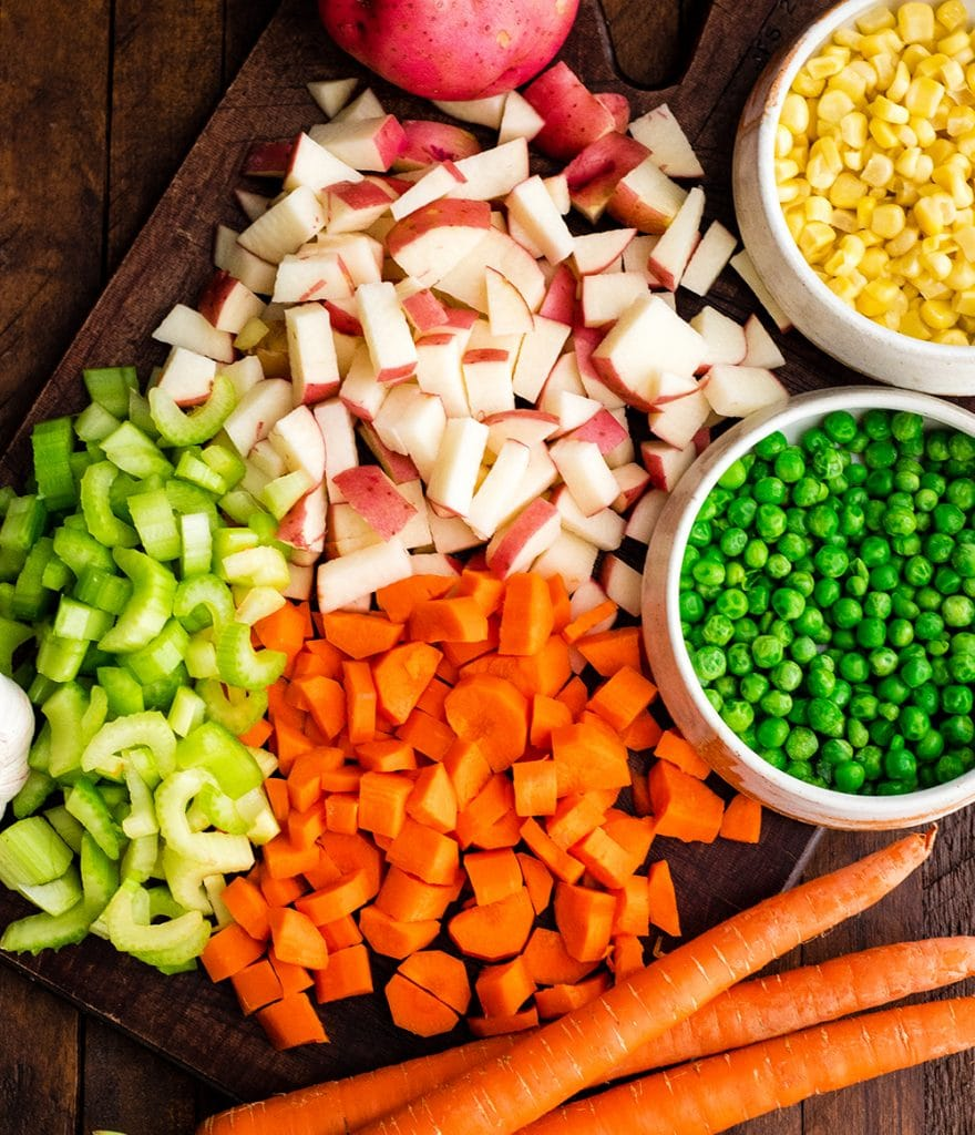 overhead view of all the ingredients in this healthy chicken pot pie recipe