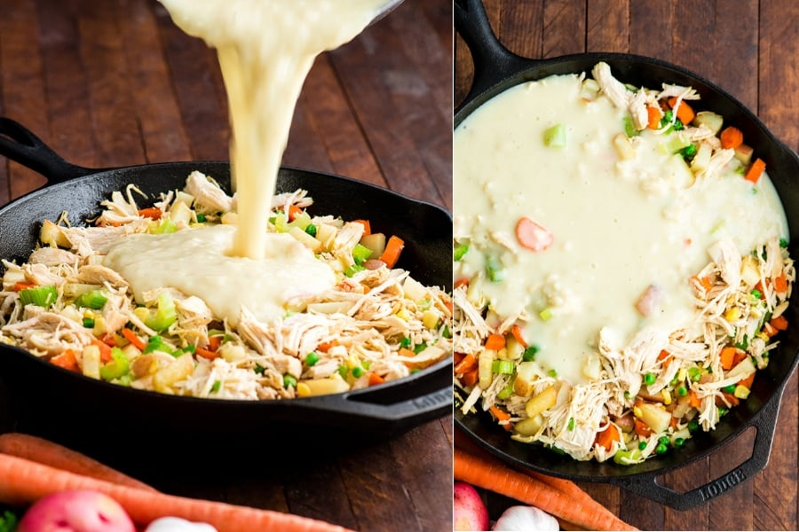 collage of two photos showing the sauce being added to the filling making this Healthy Chicken Pot Pie recipe