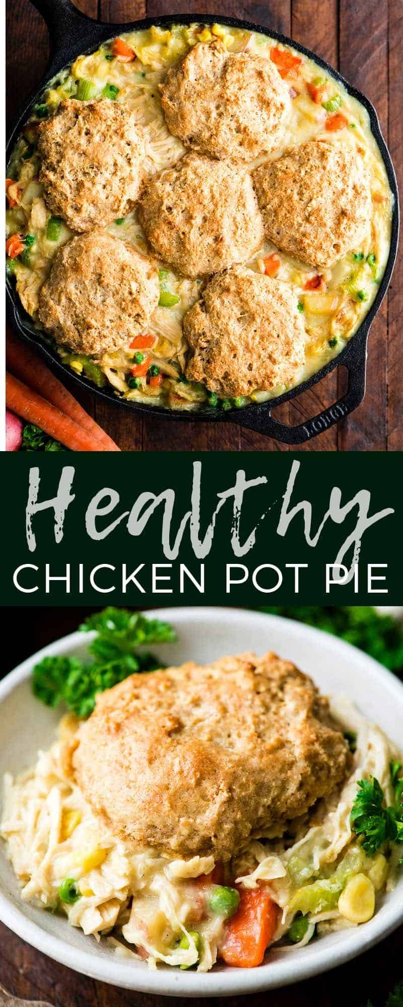 Healthy Chicken Pot Pie Recipe is made completely from scratch and has a delicious whole wheat biscuit crust. It is a perfect lightened up weeknight dinner recipe that is still cozy and comforting. #chickenpotpie #fromscratch #healthy #healthyrecipe #maindish