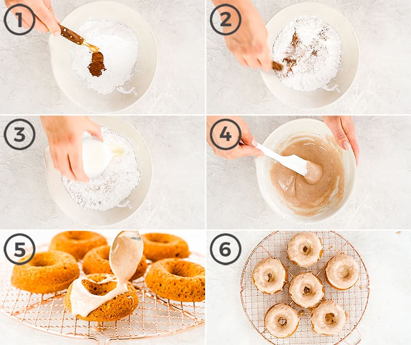 a collage of six photos showing how to make the cinnamon glaze for this Baked Pumpkin Donuts recipe