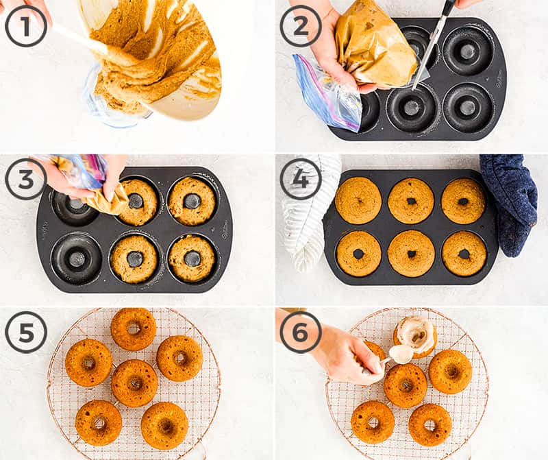collage of six photos showing the overhead view of how to pipe Baked Pumpkin Donuts batter into the donut pan and bake them, then cool and glaze.