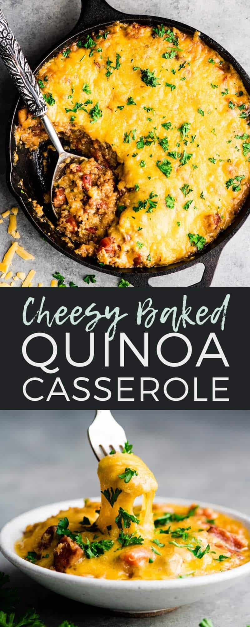This Baked Quinoa Casserole is an easy, hearty main dish that is perfect for fall. It's ready in under 30 minutes and is a great gluten-free dinner recipe to feed a crowd! Even my kids loved this cheesy quinoa recipe made with @Tillamook Farmstyle Cut Sharp Cheddar Shredded Cheese and loaded with sausage, apples and veggies! #Tillamook_Partner #ad #bakedquinoa #quinoa #quinoacasserole