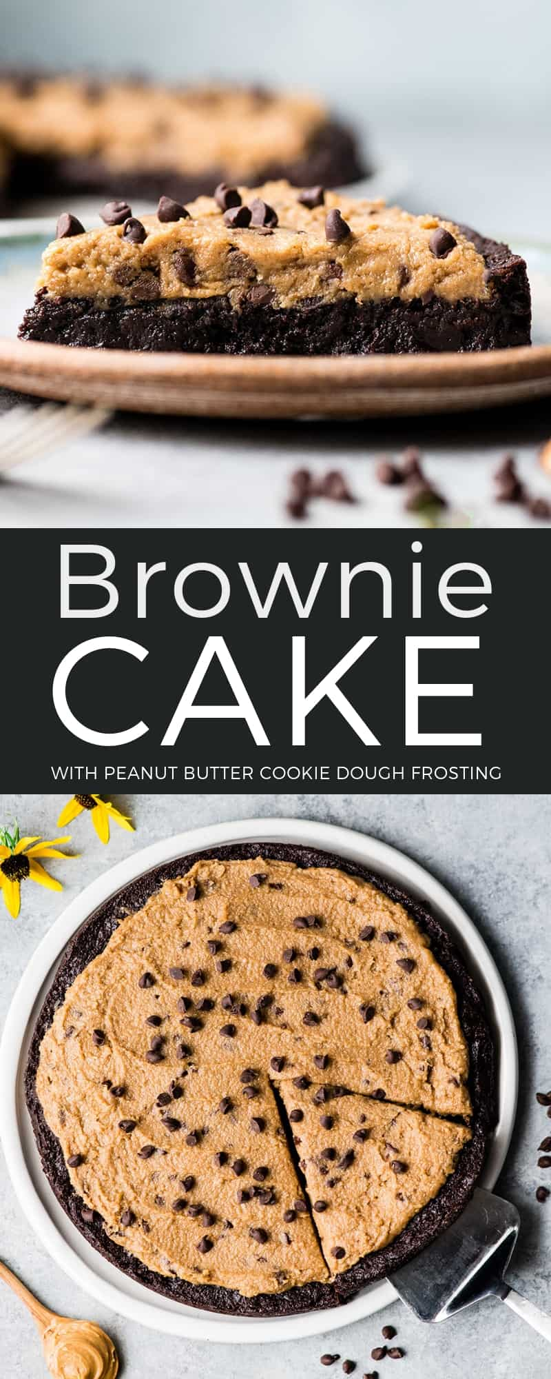 This Easy Fudge Brownie Cake Recipe with Peanut Butter Cookie Dough Frosting is basically the dessert of your dreams. A fudgy brownie cake is topped with a delicious peanut butter frosting that tastes like cookie dough. Plus it is gluten-free and easily made dairy-free! #browniecake #peanutbutterfrosting #recipe #dessert