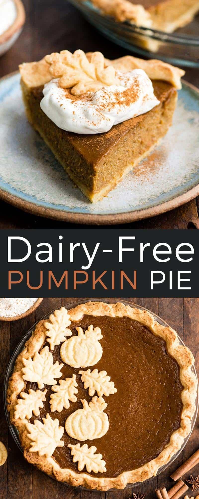 Homemade Dairy-Free Pumpkin Pie recipe from scratch! This coconut milk pumpkin pie is fresh, delicious & the perfect Thanksgiving dessert! #dairyfree #pumpkinpie #coconutmilk #thanksgiving #dessert #pie