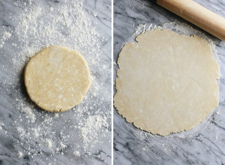 two overhead photos showing How to Make Dairy-Free Pumpkin Pie Crust - rolling out the crust